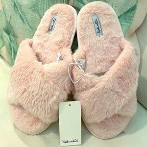 Splendid Pink Slippers Faux Fur Crisscross Slides